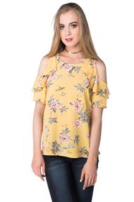 Floral Cold Shoulder Top with Ruffle Sleeves