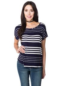 Variegated Stripe Cap Sleeve Top with Shirttail Hem