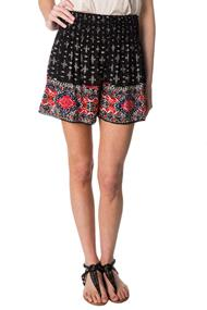 Border Pattern Crinkle Crepe Short with Smocked Waistband