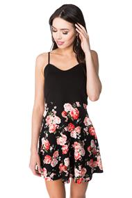 Floral Spaghetti Strap Skater Dress with Solid Top