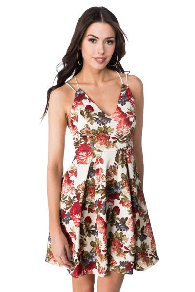 Strappy Pleated Floral Skater Dress