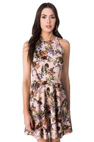 High Neck Strappy Floral Skater Dress