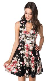 Floral Skater Dress with Choker V-neck