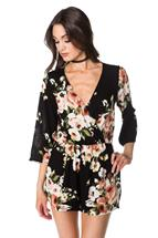Floral Crossover Romper with Bell Sleeves