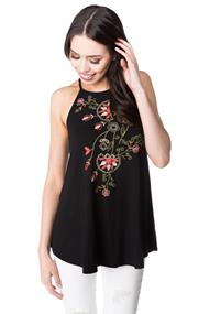 High Neck Tank with Floral Print