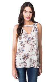 Floral Cut Out V-neck Tank