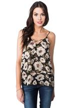 Floral Double Layer Cami with Criss Cross Detail