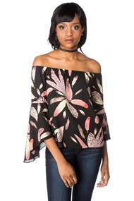 Feather Print Off the Shoulder Top with Bell Sleeves