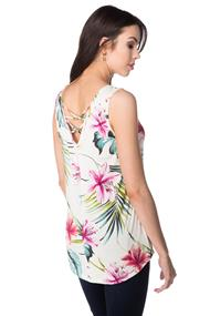 Tropical Floral Tank with Criss Cross Back