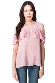 Cold Shoulder Ruffle Blouse with Keyhole Back
