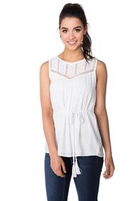 Sleeveless Tunic with Crochet Lace Trim and Tie-waist