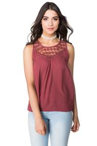 Crinkle Crepe Tank with Floral Crochet Neckline