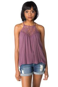Crinkle Crepe Tank with Lace Neckline