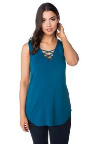Sleeveless V-neck Tank with Criss Cross Detail
