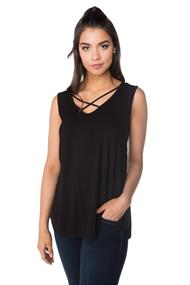 Double V-neck Criss Cross Tunic Tank