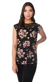 Floral Tunic with Tie Belt and Lace Shoulders