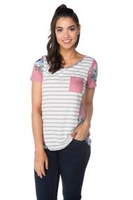 Stripe and Floral Tee with Pocket