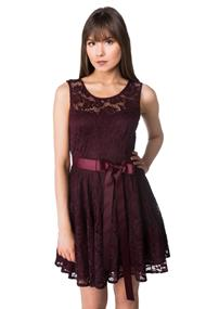 Floral Lace Dress with Ribbon Belt