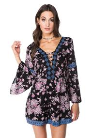 Angie Floral Long Sleeve Romper with Pockets and Criss Cross Detail