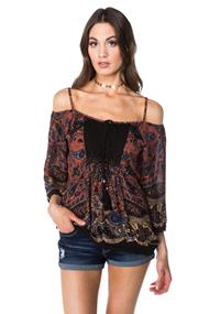Angie Boho Off the Shoulder Blouse with Crochet Trim
