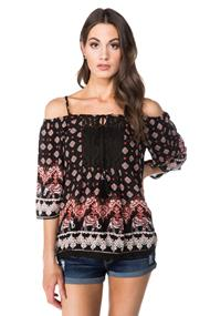 Angie Boho Off the Shoulder Blouse with Tie