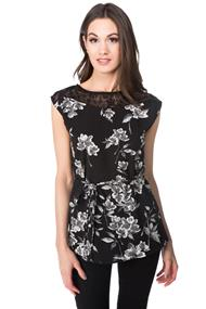 Floral Top with Tie Belt and Lace Shoulders