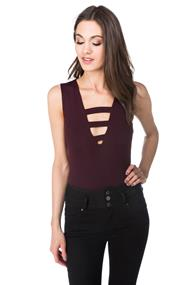 V-neck Bodysuit with Strappy Details