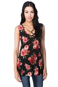 Floral Double V-neck Criss Cross Tunic Tank