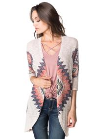 Knitted Aztec Open Cardigan