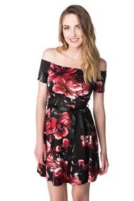 Floral Off the Shoulder Skater Dress with Ribbon Belt