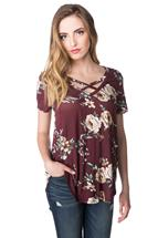 Short Sleeve Floral Top with Criss Cross V-neck