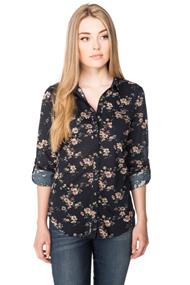 Floral Shirt with Roll-up Sleeves