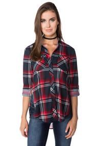 Plaid Shirt with Side Slits and Roll-up Sleeves