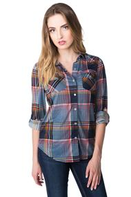 Plaid Shirt with Chest Pockets and Snaps