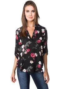 Floral Blouse with Roll-up Sleeves