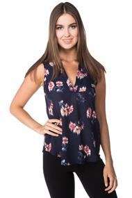 Floral Sleeveless Blouse with Chest Pocket