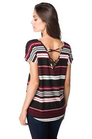 Ribbed Striped Top with Criss Cross Back