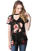 Floral Short Sleeve Top with Choker Neckline