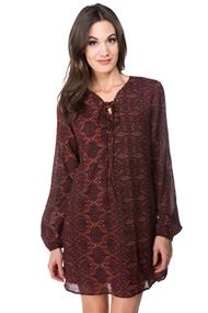 Paisley Shift Dress with Lace-up Neck