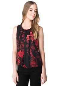 Floral Sleeveless Bubble Hem Top