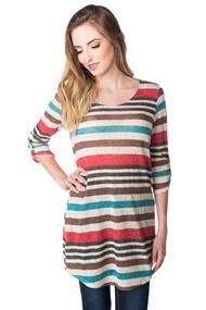 Variegated Stripe Tunic Sweater with Roll-up Sleeves
