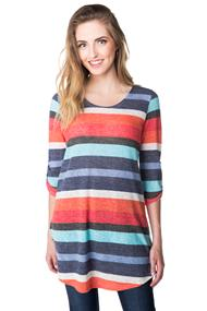 Multicolour Stripe Tunic Sweater with Roll-up Sleeves