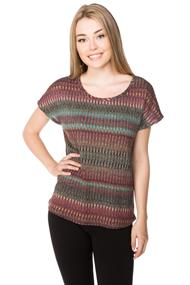 Short Sleeve Ribbed Chevron Sweater
