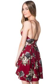 Strappy Pleated Rose Print Skater Dress