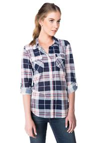 Plaid Long Sleeve Shirt with Snaps and Roll-up Sleeves