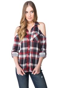 Cold Shoulder Plaid Shirt with Roll-up Sleeves