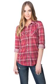 Plaid Shirt with Roll-up Sleeves and Chest Pockets