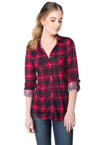Plaid Knit Shirt with Chest Pockets
