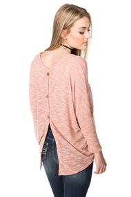 Oversized Dolman Sweater with Button Back