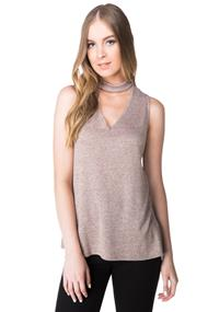 Choker V-neck Tunic with Side Slits